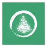 White Zen Christmas Tree Personalized Invite