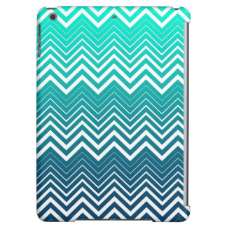 White Zigzag Chevron And Blue Green  Background iPad Air Cover