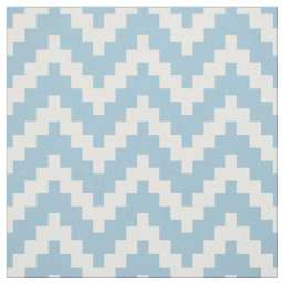 White Zigzag Ikat & Custom Baby Blue Background Fabric