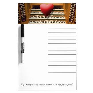 Whiteboard del órgano pizarras blancas