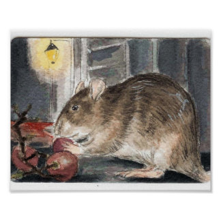 Whitechapel Rat with Grapes Poster
