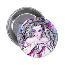 artsprojekt, marriage, painting, folk, bride, beauty, woman, white, bridal, romantic, wedding, girl, valentine's day, day, valentines, Button with custom graphic design