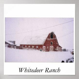 Whitedeer Ranch barn snow storm Poster