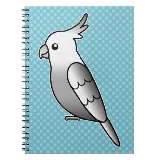 Whiteface Cartoon Cockatiel Parrot Bird Spiral Notebooks