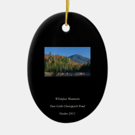 Whiteface Mountain over Little Cherrypatch Pond Ceramic Ornament
