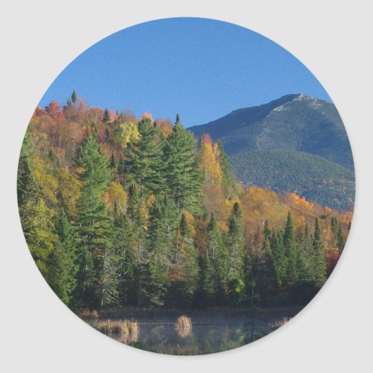 Whiteface Mountain over Little Cherrypatch Pond Classic Round Sticker