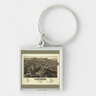 Whitefield, Coos County, New Hampshire (1883) Silver-Colored Square Keychain