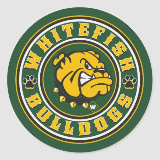 bulldog whitefish whitefish bulldogs circle classic round sticker zazzle 1122
