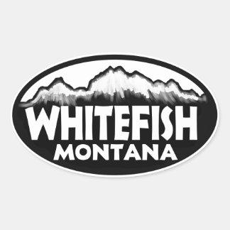 Whitefish Montana oval mountain stickers