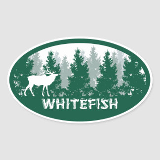 Whitefish Montana Oval Stickers