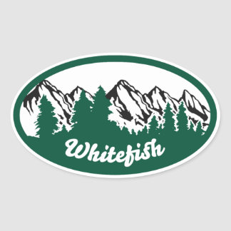 Whitefish Mountain Oval Oval Sticker