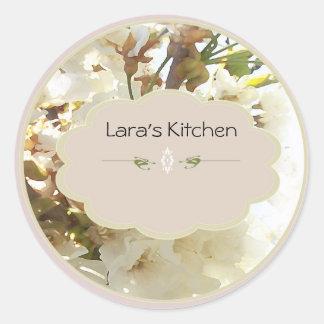 whiteflower spice jar labels classic round sticker