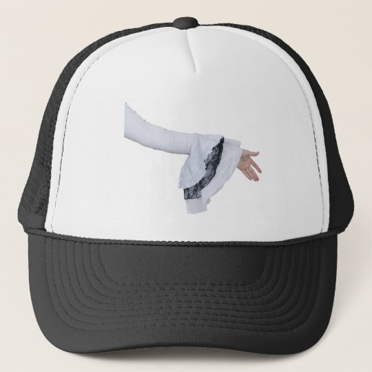 WhiteGothicLaceHandshake051010 Trucker Hat