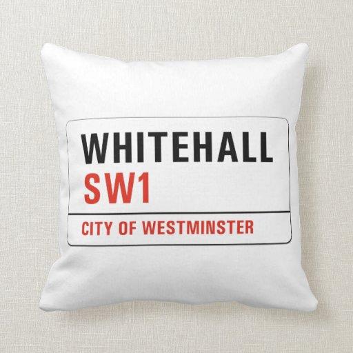 Whitehall, London Street Sign Throw Pillows