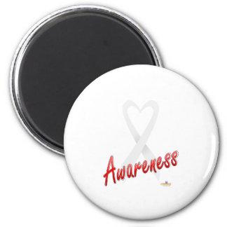WhiteHeartRibbonAwareness Imán Redondo 5 Cm