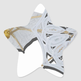 WhiteLaceUmbrella010415 Pegatina En Forma De Estrella