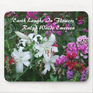 """WhiteLilies, """"Earth Laughs In Flowers """"  Mouse Mat Mouse Pad"""