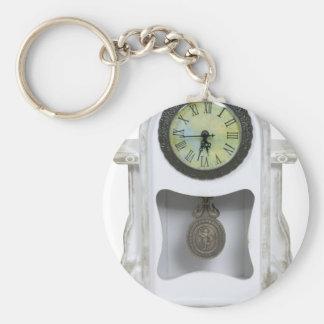 WhiteMantelClock052010 Basic Round Button Keychain