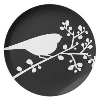 WhiteMod Single Bird & Berries {pick your color} Plate
