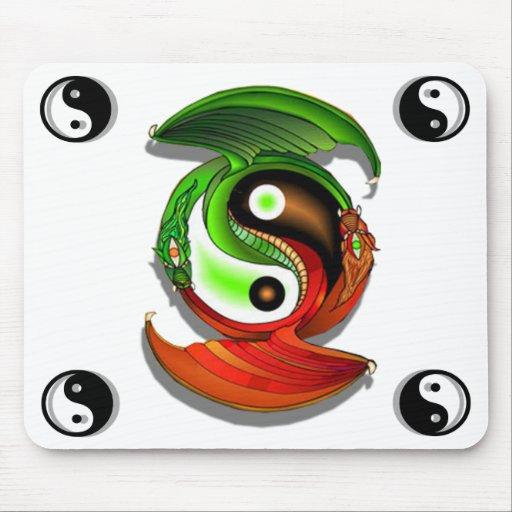 Whitepad chino del dragón de Yin Yang Alfombrillas De Ratones