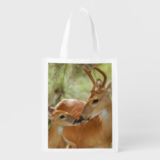 Whitetail Buck And Fawn Bonding Grocery Bag