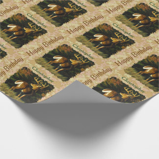 Whitetail Buck Autumn Leaves Wrapping Paper