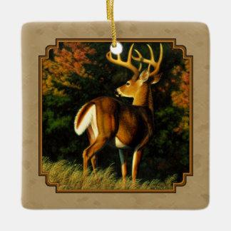 Whitetail Buck Deer Hunting Tan Ceramic Ornament