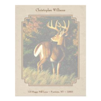 Whitetail Buck Deer Hunting Tan Letterhead