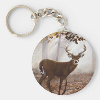 WhiteTail Buck Fall Leaves Basic Round Button Keychain