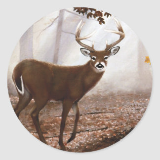 WhiteTail Buck Fall Leaves Classic Round Sticker