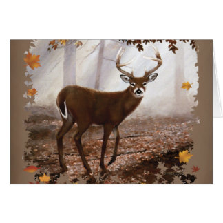 WhiteTail Buck Fall Leaves Greeting Card