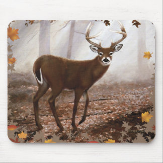 WhiteTail Buck Fall Leaves Mouse Pad