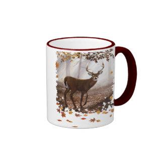 WhiteTail Buck Fall Leaves Ringer Coffee Mug