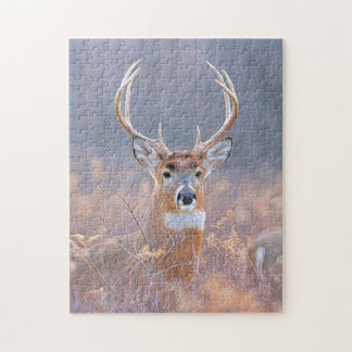 Whitetail Buck in Field Landscape Painting Jigsaw Puzzle