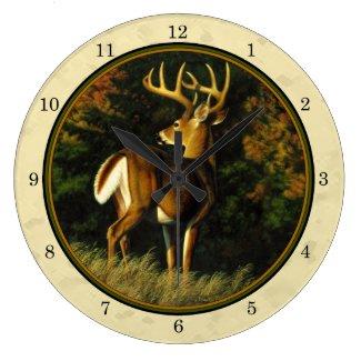 Whitetail Buck Yellow Wall Clock