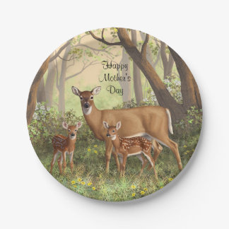 Whitetail Deer and Cute Twin Fawns In Spring Paper Plate