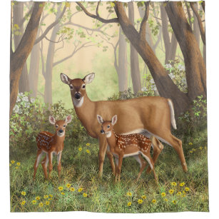 Whitetail Deer And Cute Twin Fawns In Spring Shower Curtain