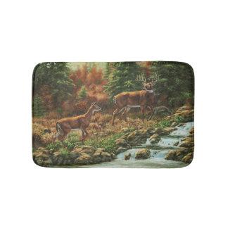 Whitetail Deer and Waterfall Bathroom Mat