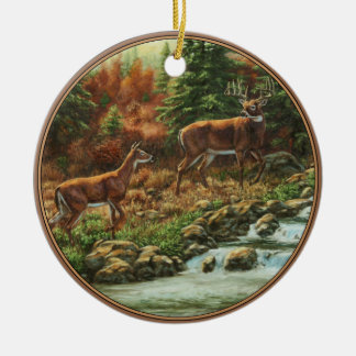 Whitetail Deer and Waterfall Ceramic Ornament