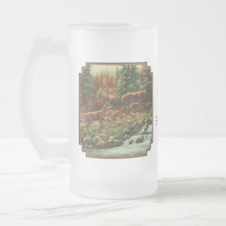 Whitetail Deer and Waterfall Frosted Glass Beer Mug