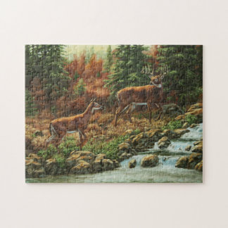 Whitetail Deer and Waterfall Jigsaw Puzzle