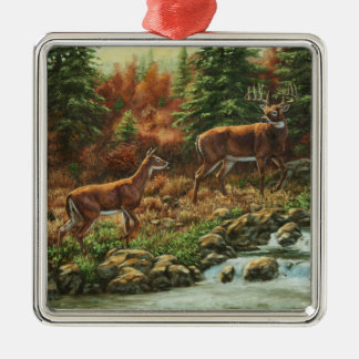 Whitetail Deer and Waterfall Metal Ornament