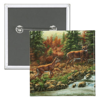 Whitetail Deer and Waterfall Pinback Button