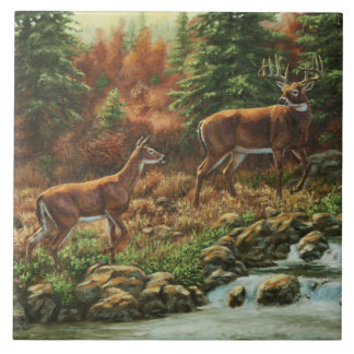 Whitetail Deer and Waterfall Tile