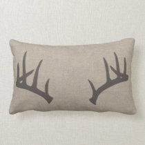 Whitetail Deer Antlers Lumbar Pillow
