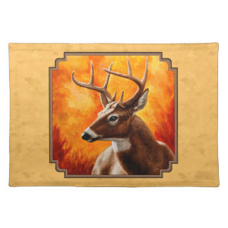 Whitetail Deer Autumn Gold Cloth Placemat