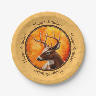 Whitetail Deer Autumn Gold Paper Plate
