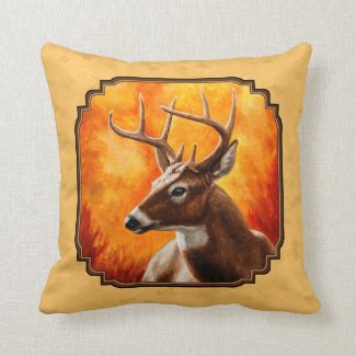 Whitetail Deer Autumn Gold Throw Pillow