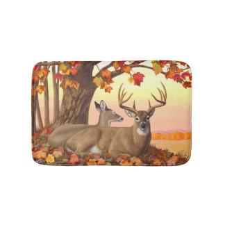 Whitetail Deer Autumn Maple Tree Bath Mat