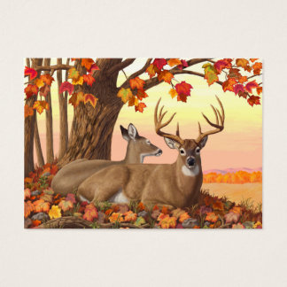 Whitetail Deer Autumn Maple Tree Business Card